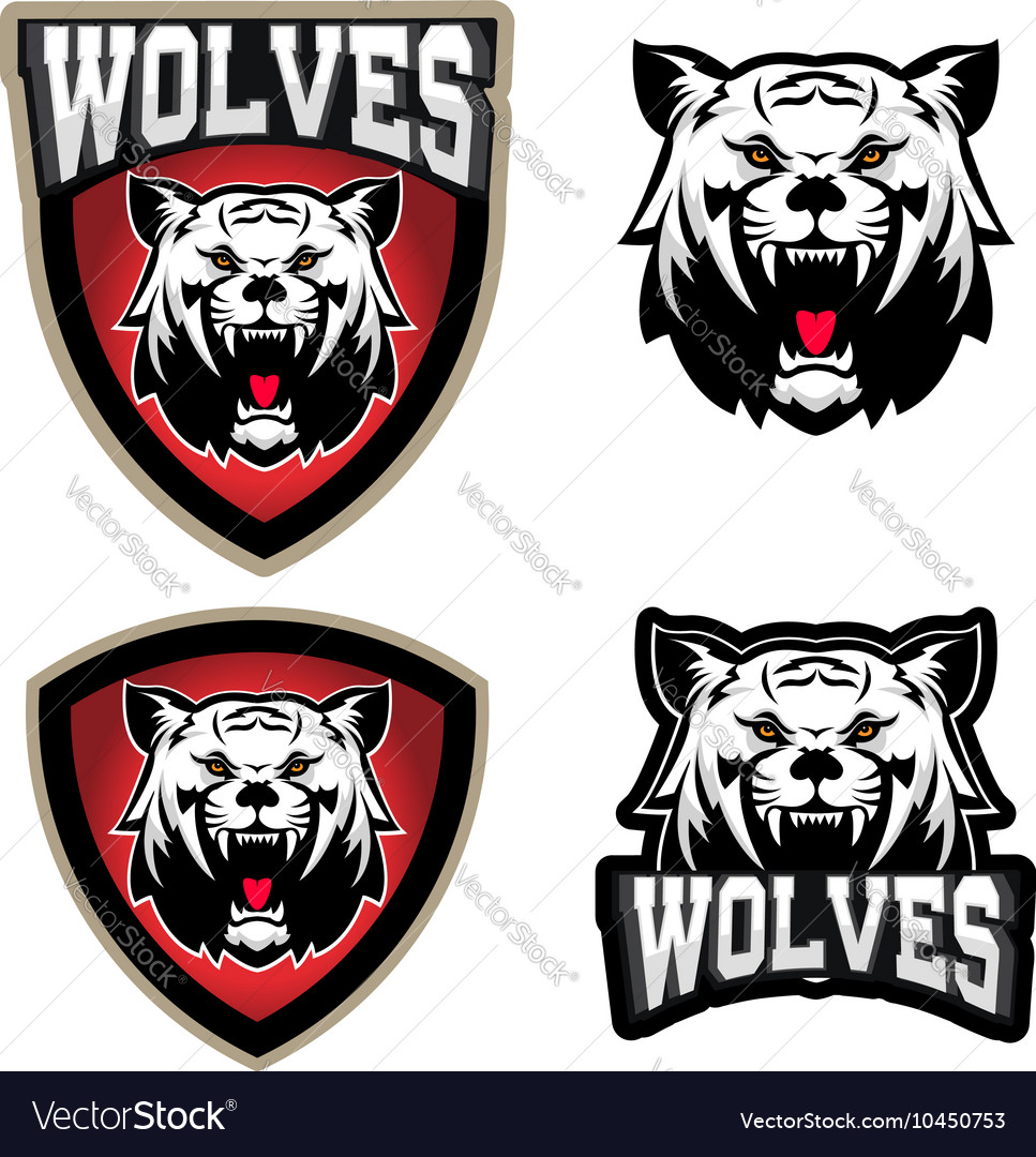Wolves sport team logo template Mascot Royalty Free Vector