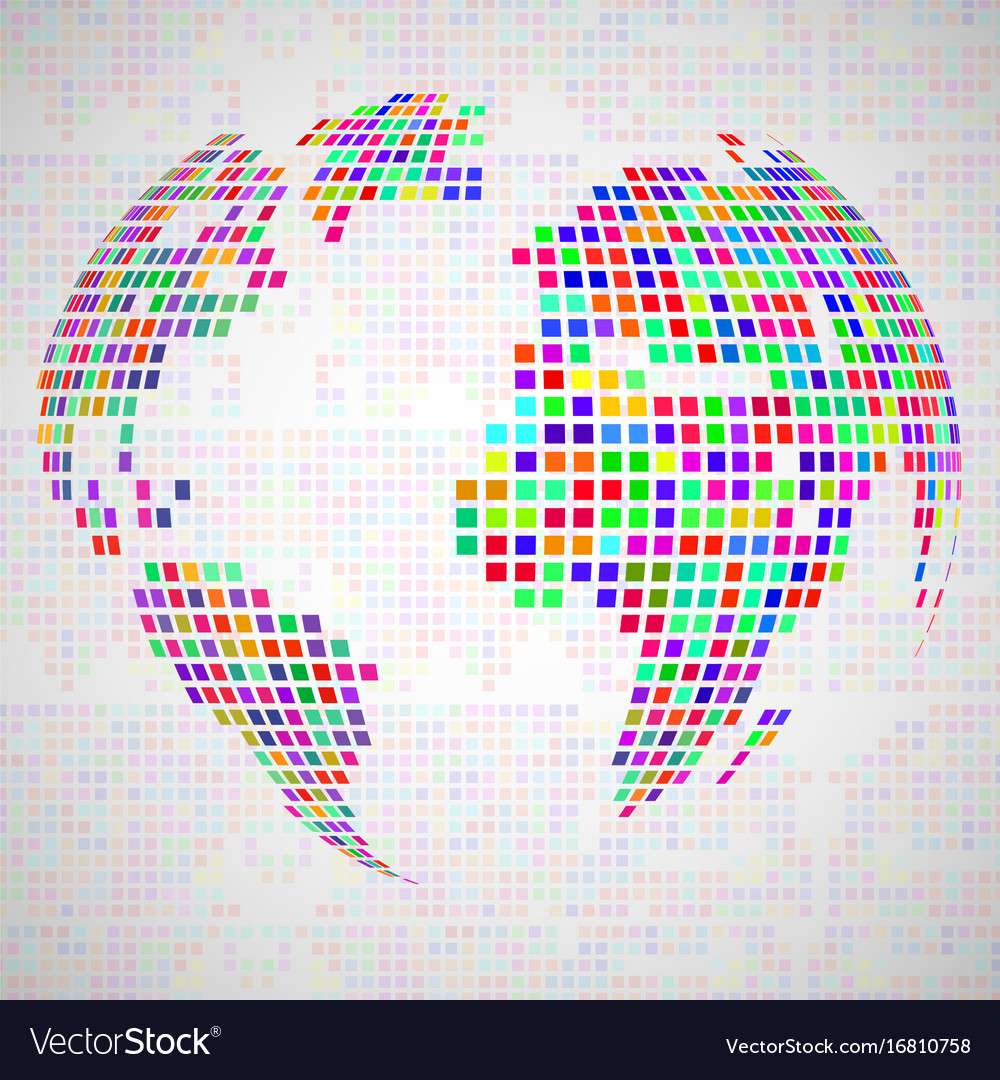 Abstract globe earth from colorful pixels