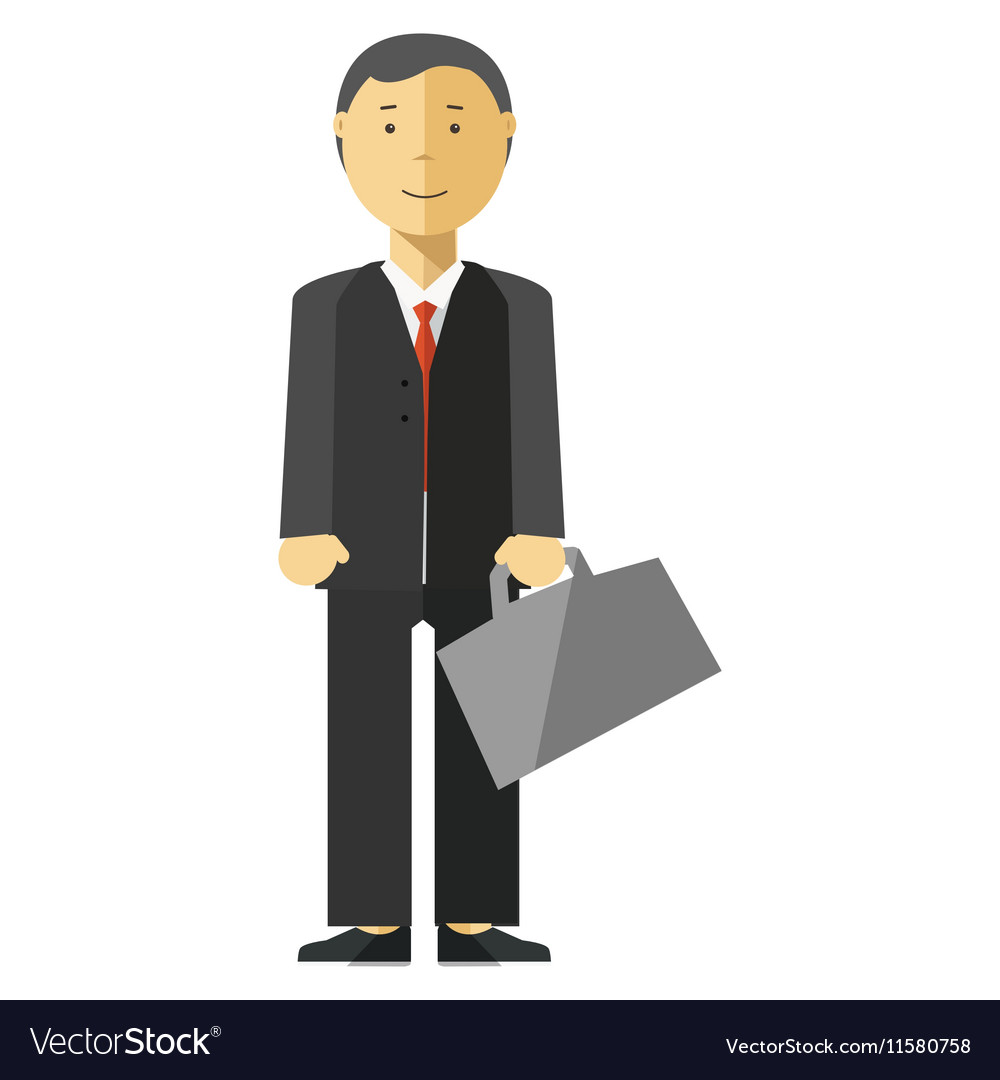 Businessman manager with suitcase in office