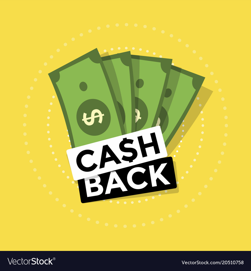 Cash back icon on yellow background