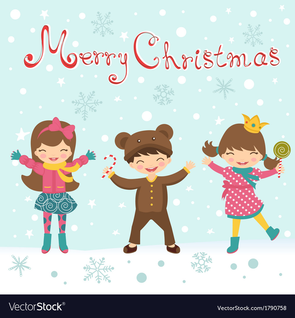 Christmas card with happy kids vector image