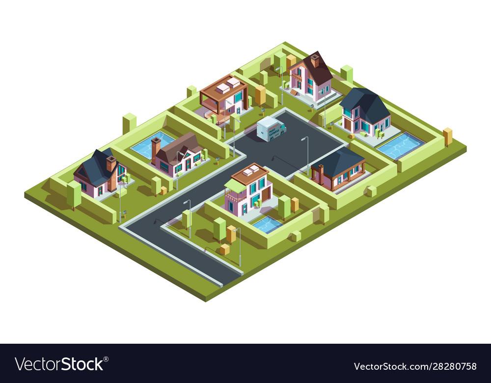 Cottage village isometric suburban modern
