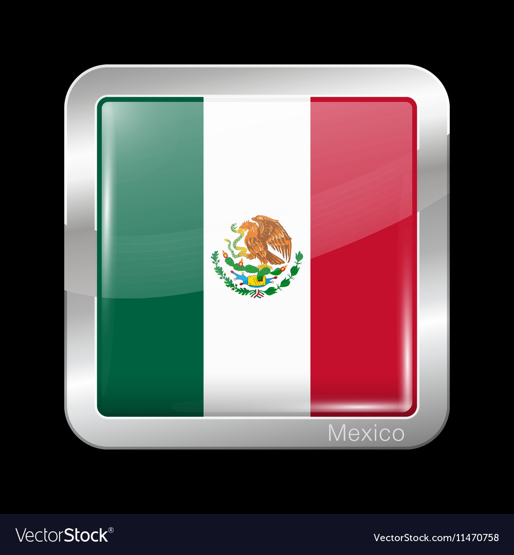 Flag of Mexico Metal Icon Square Shape