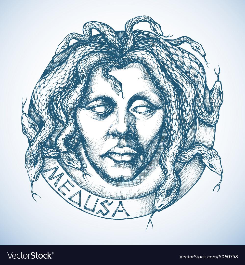 Mythological Medusa portrait with snakes in place