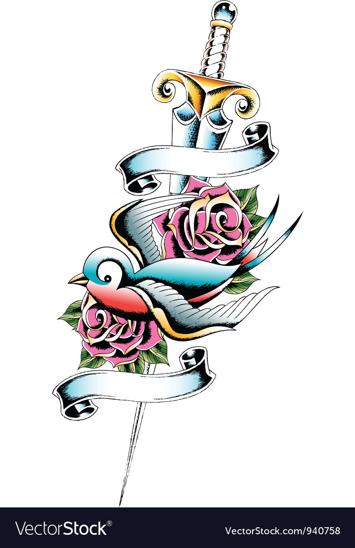 Swallow sword rose tattoo