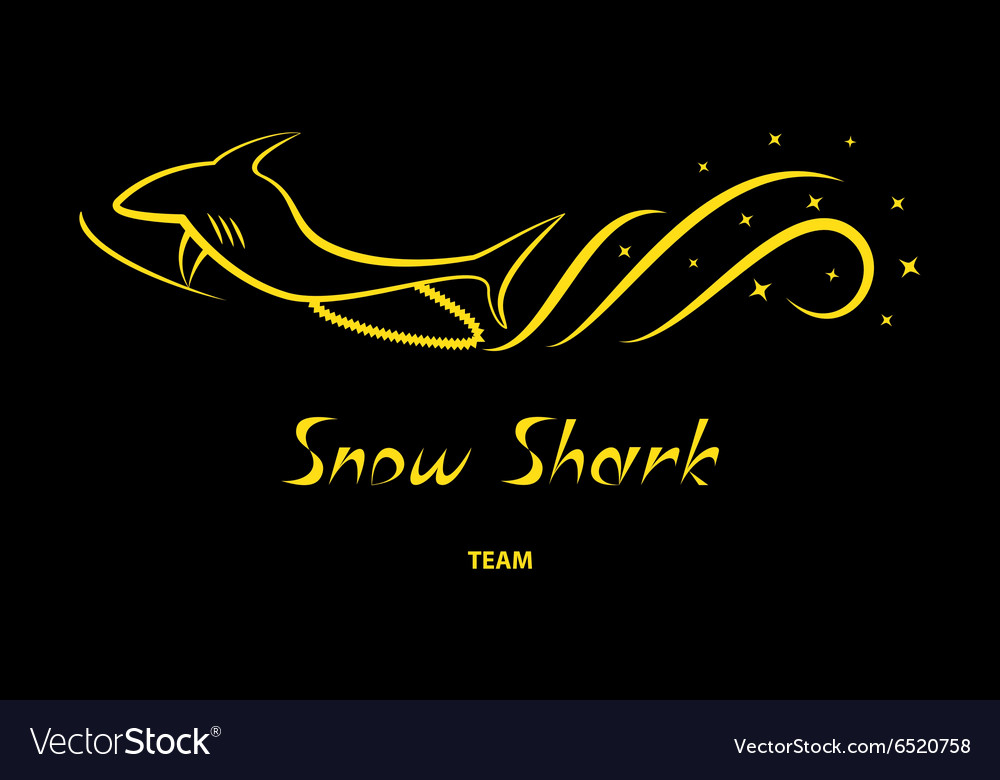 Yellow snowmobile silhouette on black background