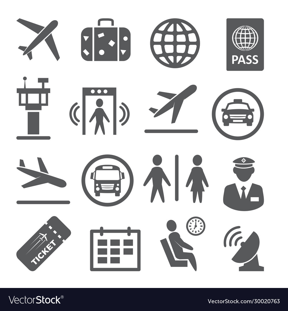 Airport icons set on white background