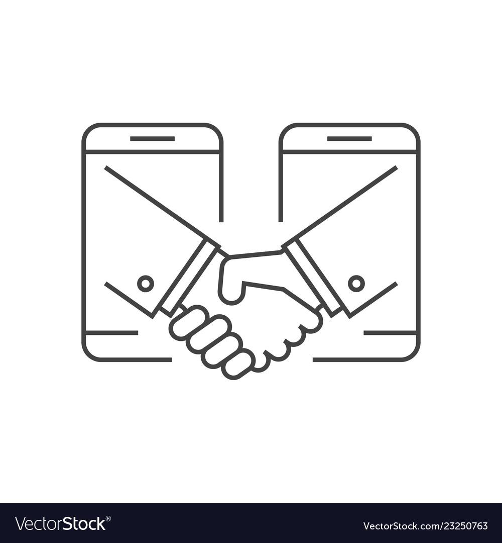 Business handshake via phones