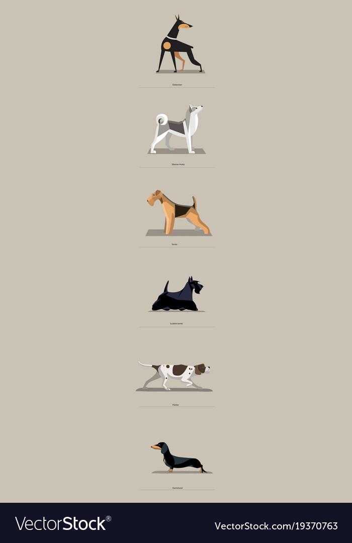 Dog breeds set in minimalist style