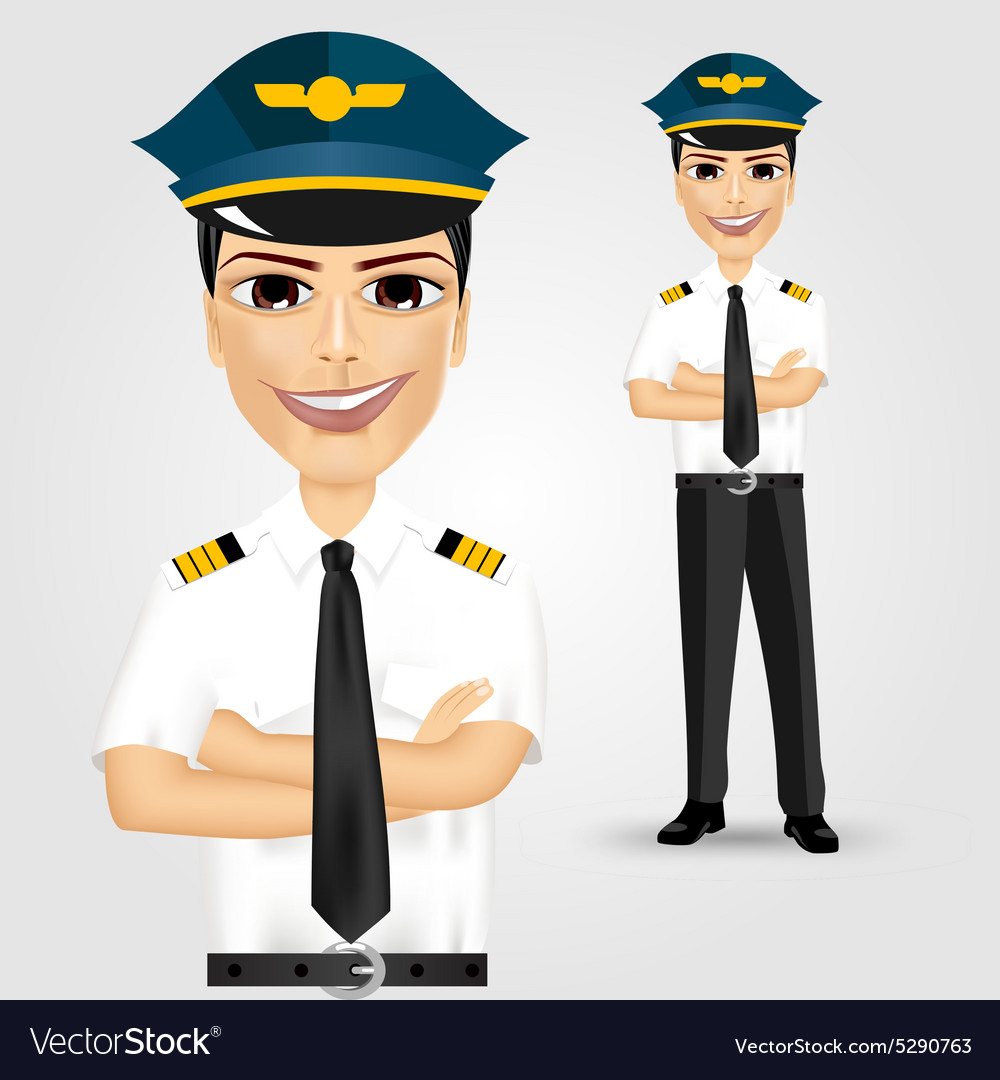 Friendly pilot with crossed arms vector image