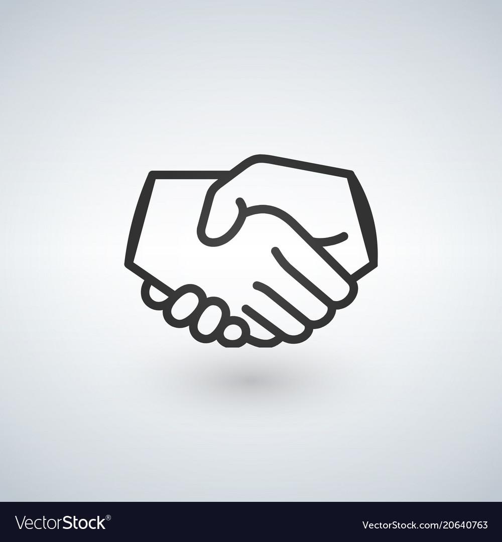 Handshake line icon partnership and agreement