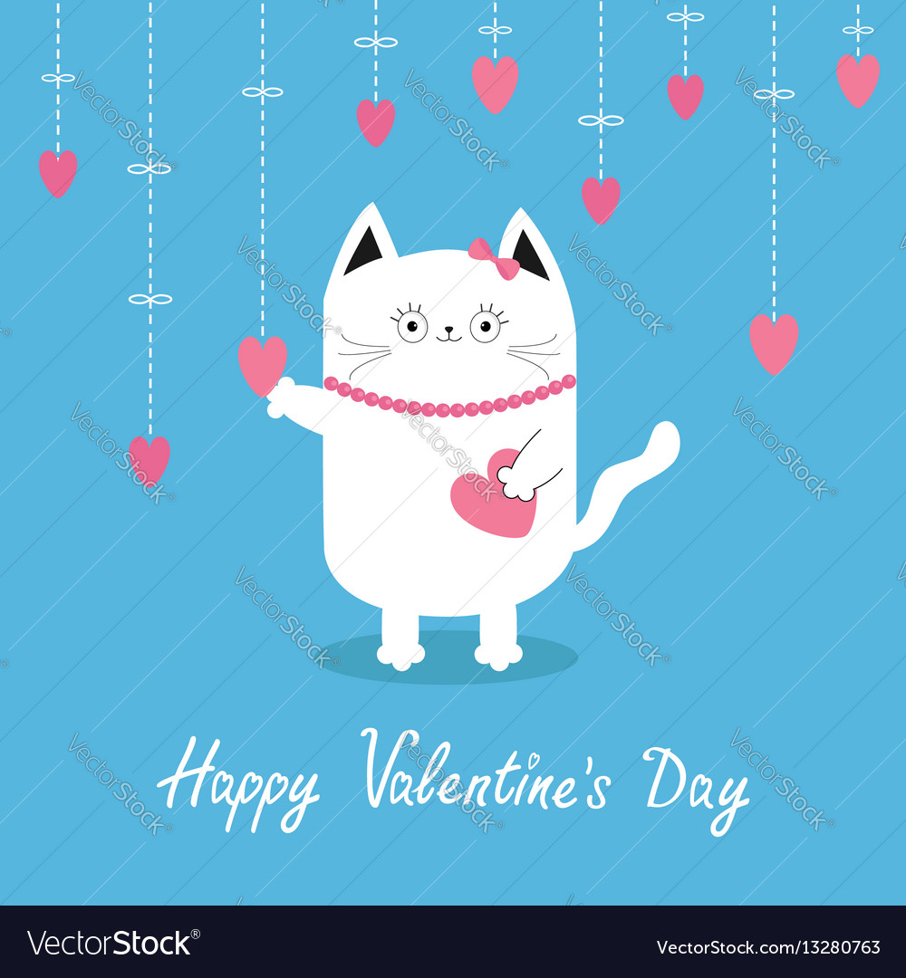 Happy valentines day white cat hanging pink