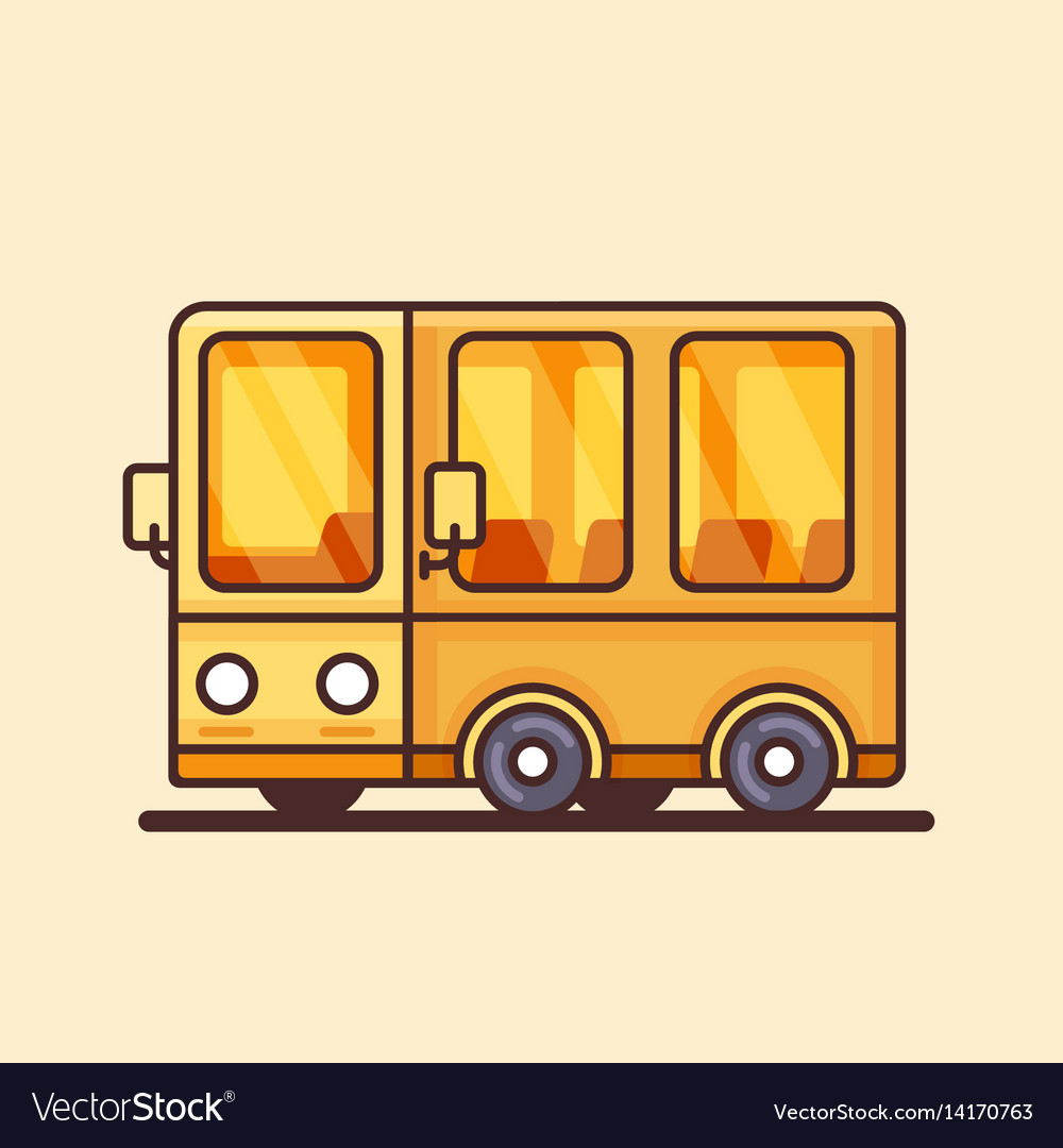 Modern yellow bus icon flat design