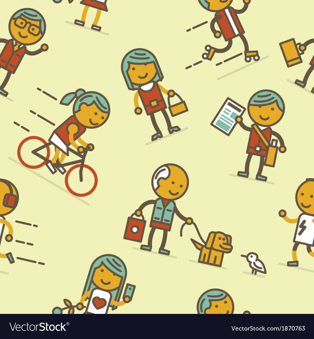 Seamless pattern with people of big city vector image