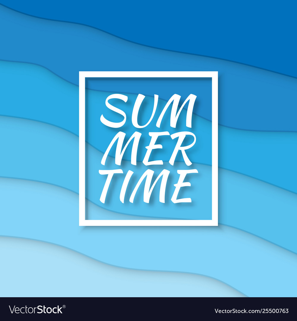 Summer time paper cut style blue sea summer