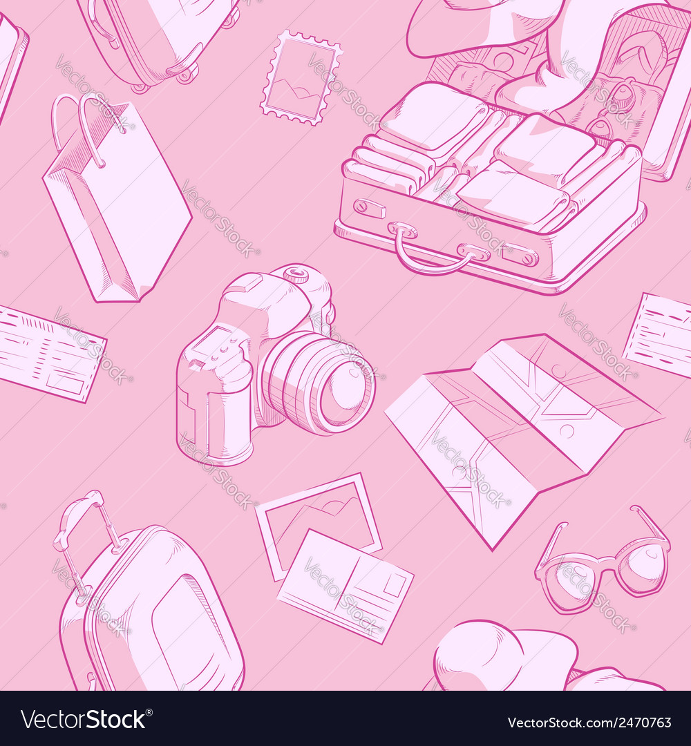 Travel object sketch seamless pattern