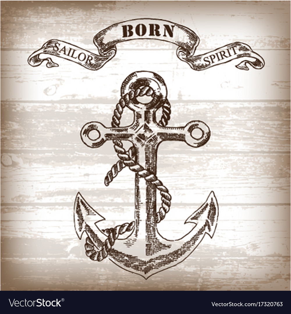 Vintage anchor on wooden background vector image