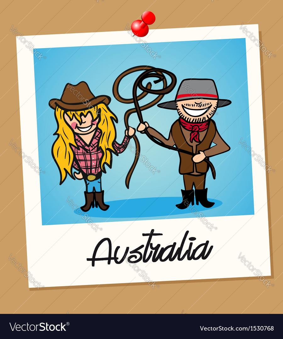 Australia travel polaroid people vector image