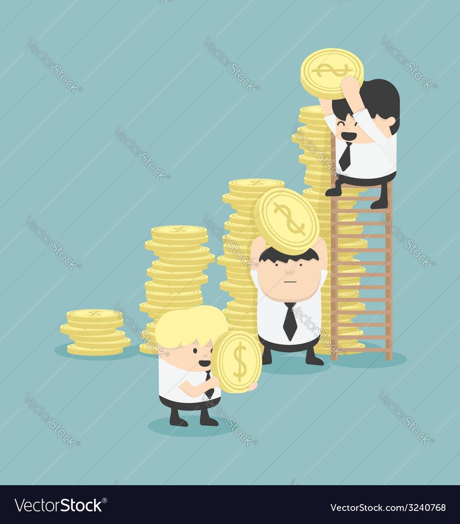 Businessmen make graph money