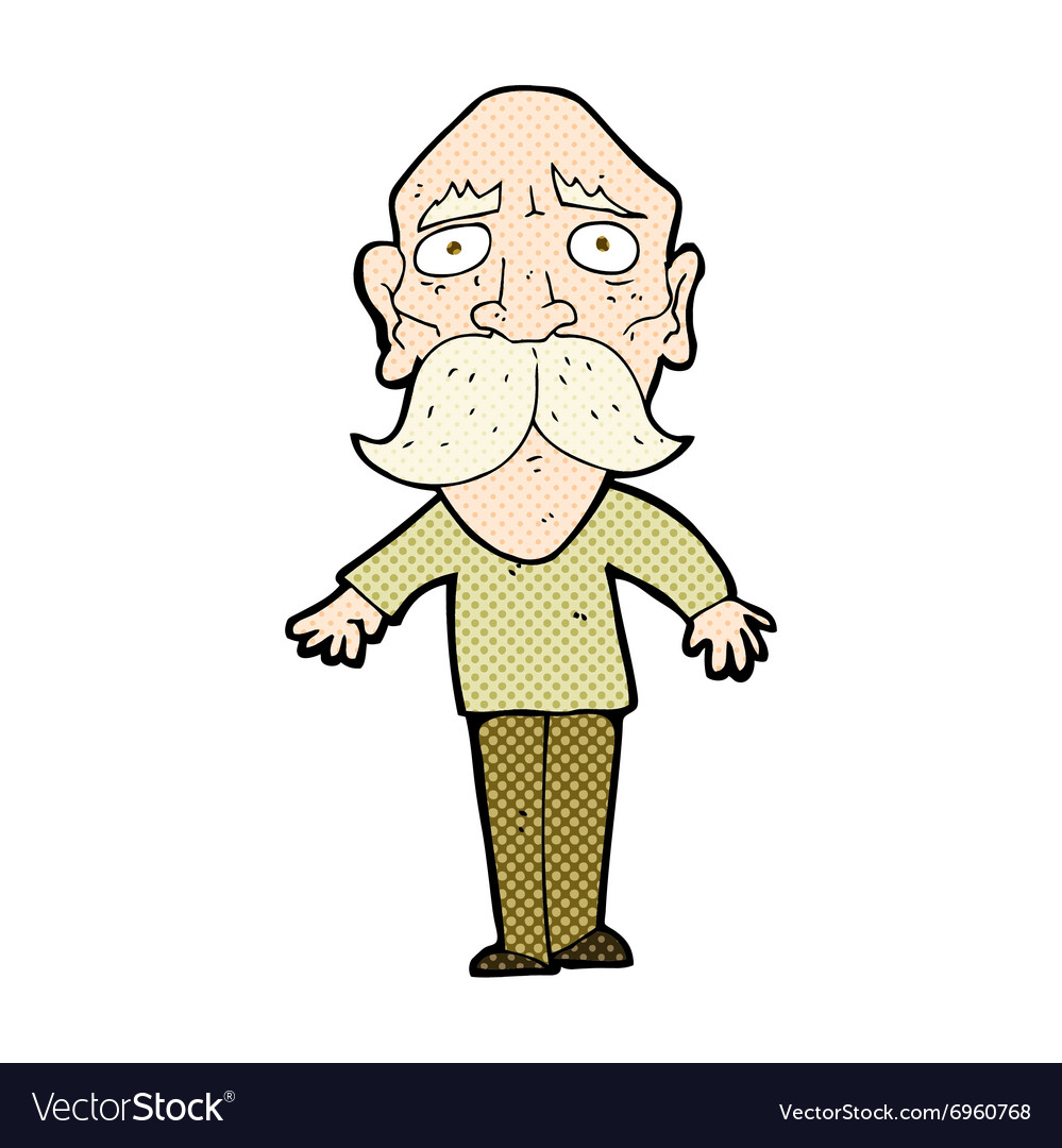 Comic cartoon sad old man vector image