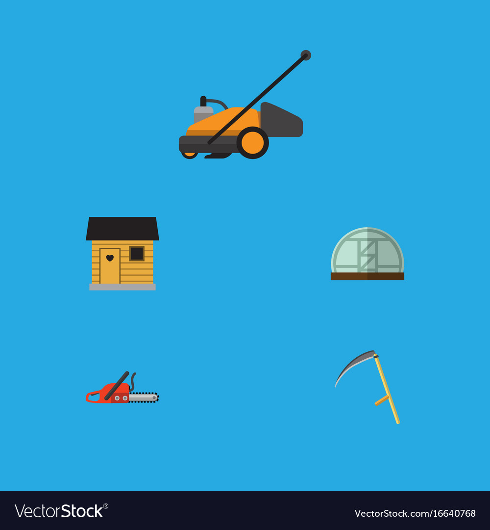 Flat icon dacha set of stabling lawn mower