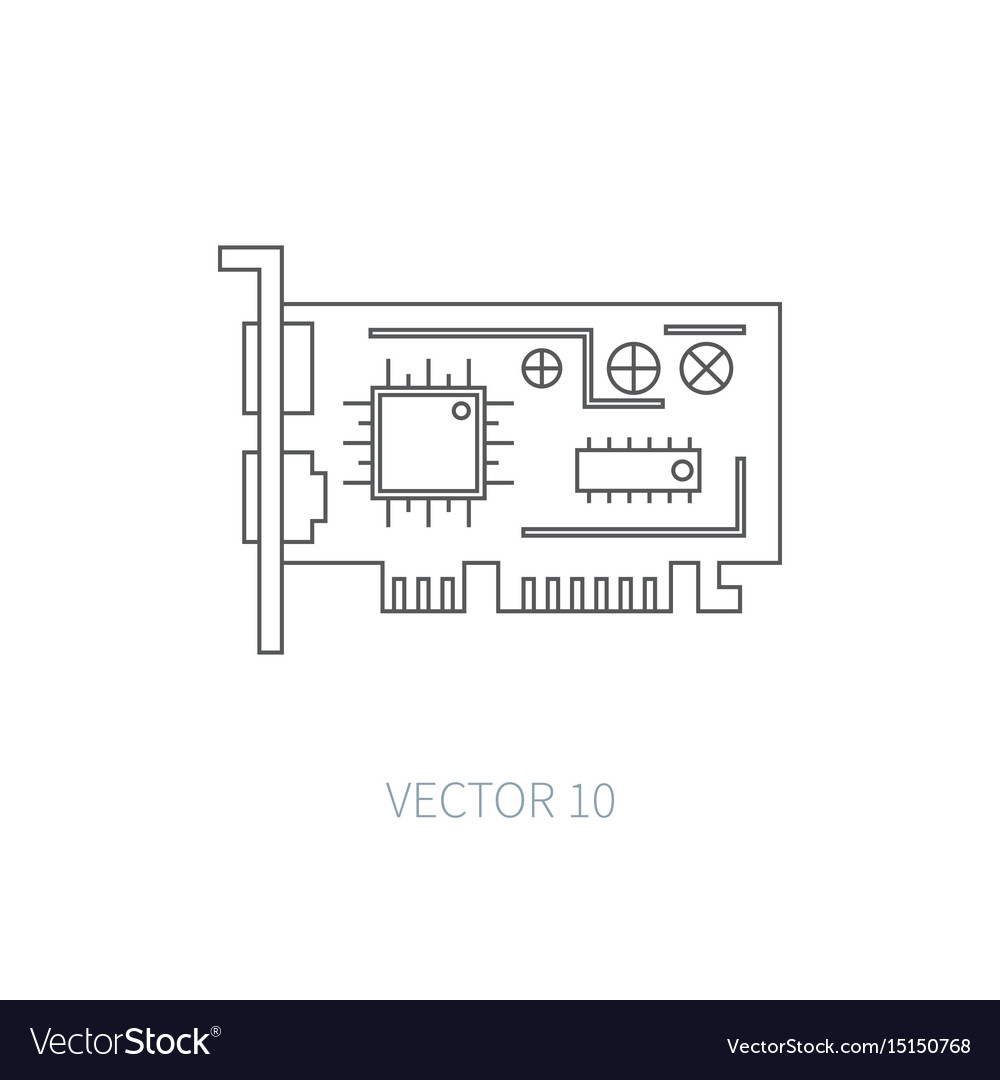 Flat line computer part icon - video card