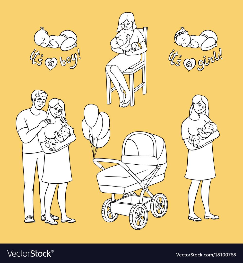 Flat newborn baby symbols for coloring book
