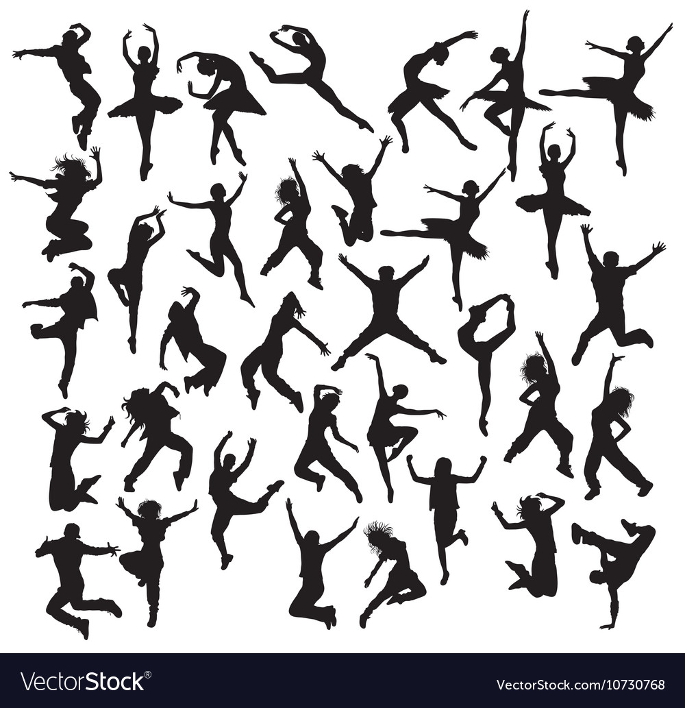Happy Dancer Silhouettes vector image