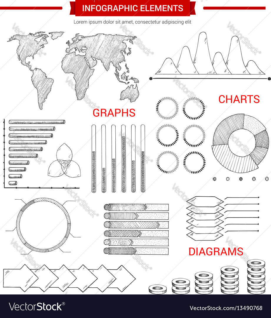 Infographic elements with sketched chart graph