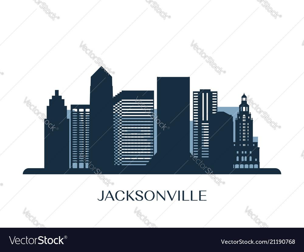 Jacksonville skyline monochrome silhouette vector image