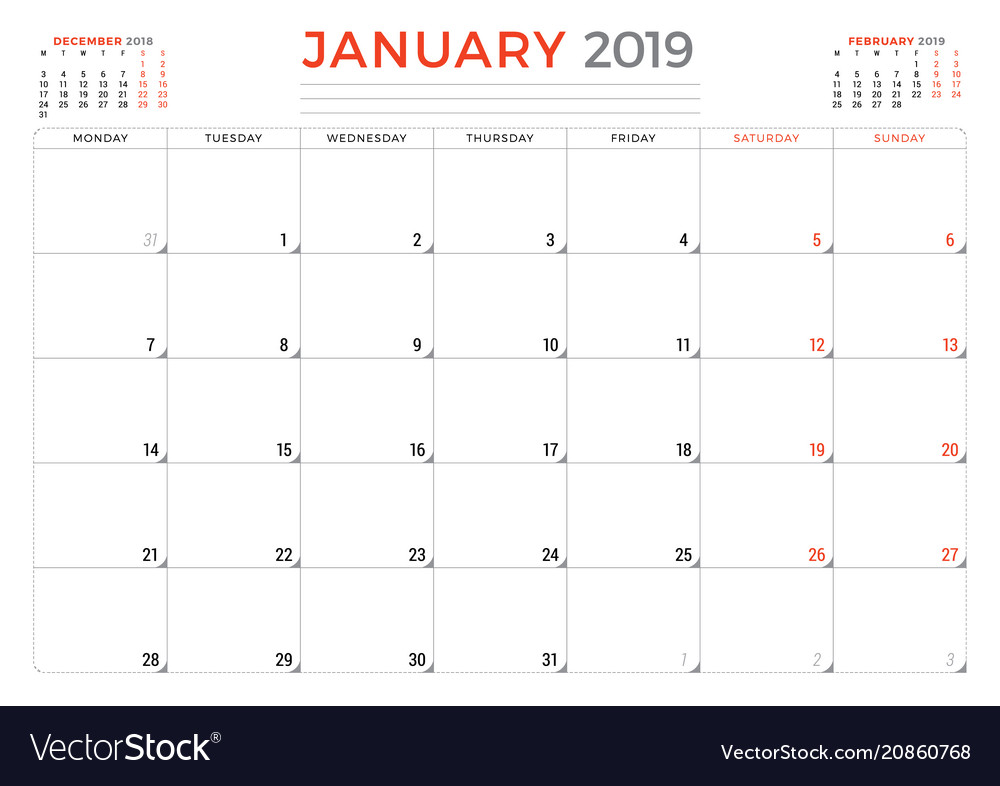 2019 Planner Calendar January 2019 calendar planner stationery design Vector Image