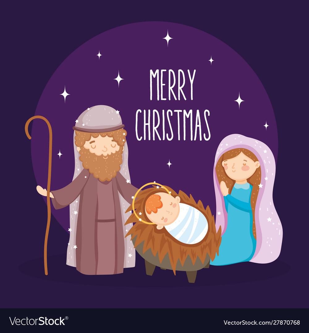 Mary joseph and bamanger nativity merry