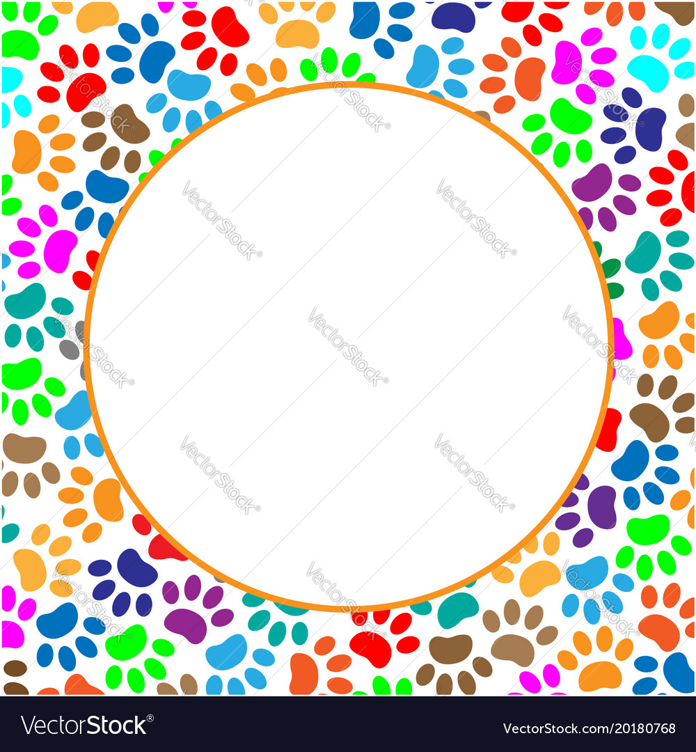 Round frame colorful paws vector image