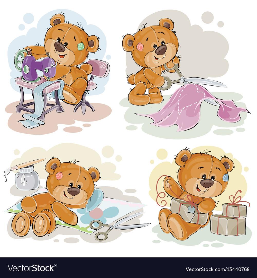 Set of clip art of teddy vector image