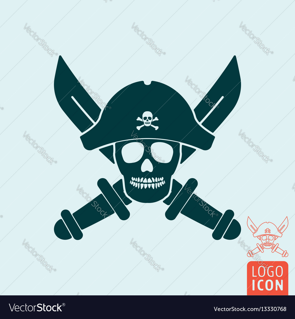 Skull pirate icon isolated