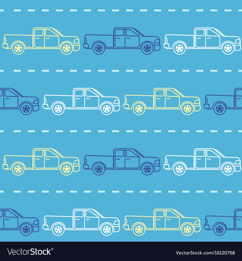 Striped seamless pattern with pickup trucks