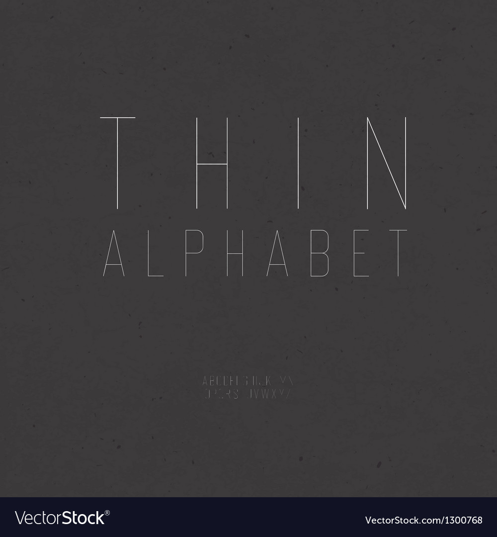 Thin alphabet uppercase vector image