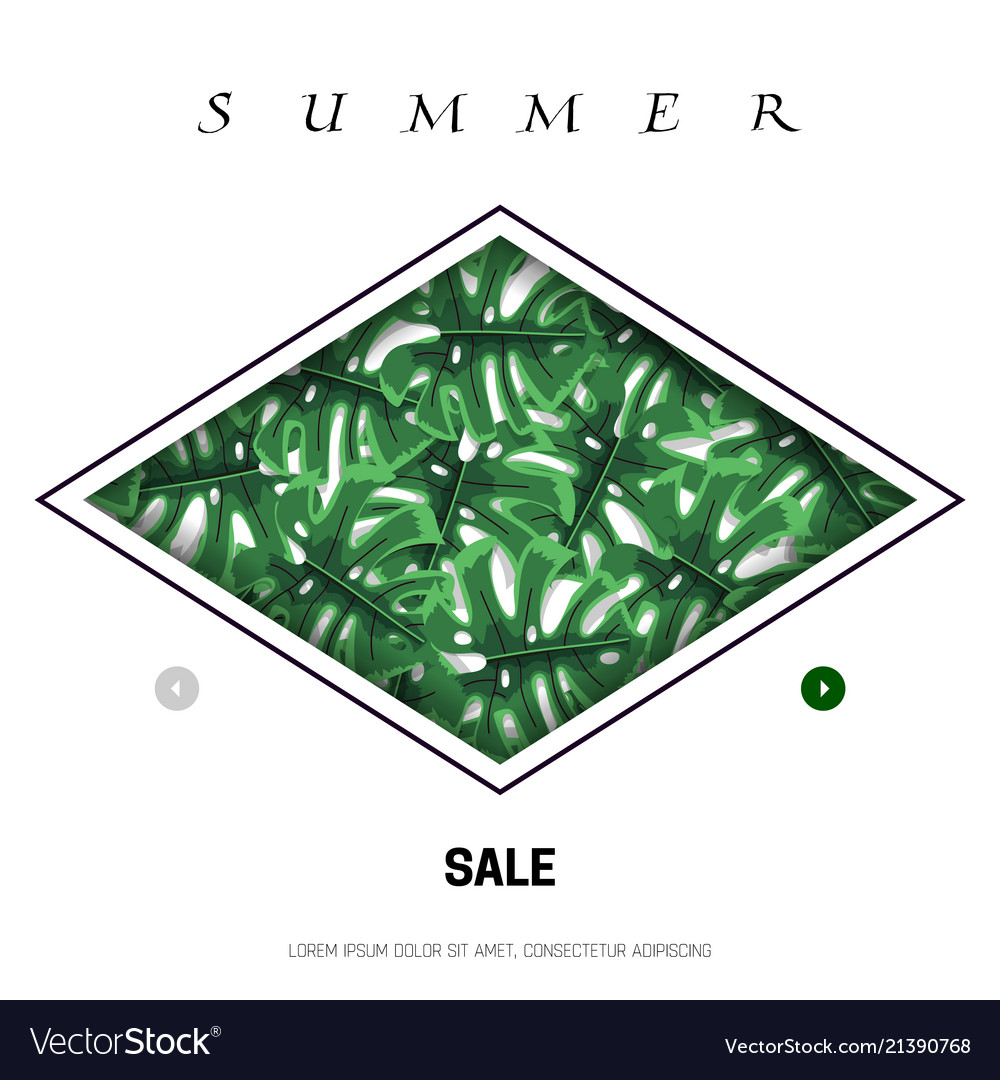 Tropical leaves in a rhombus web banner for