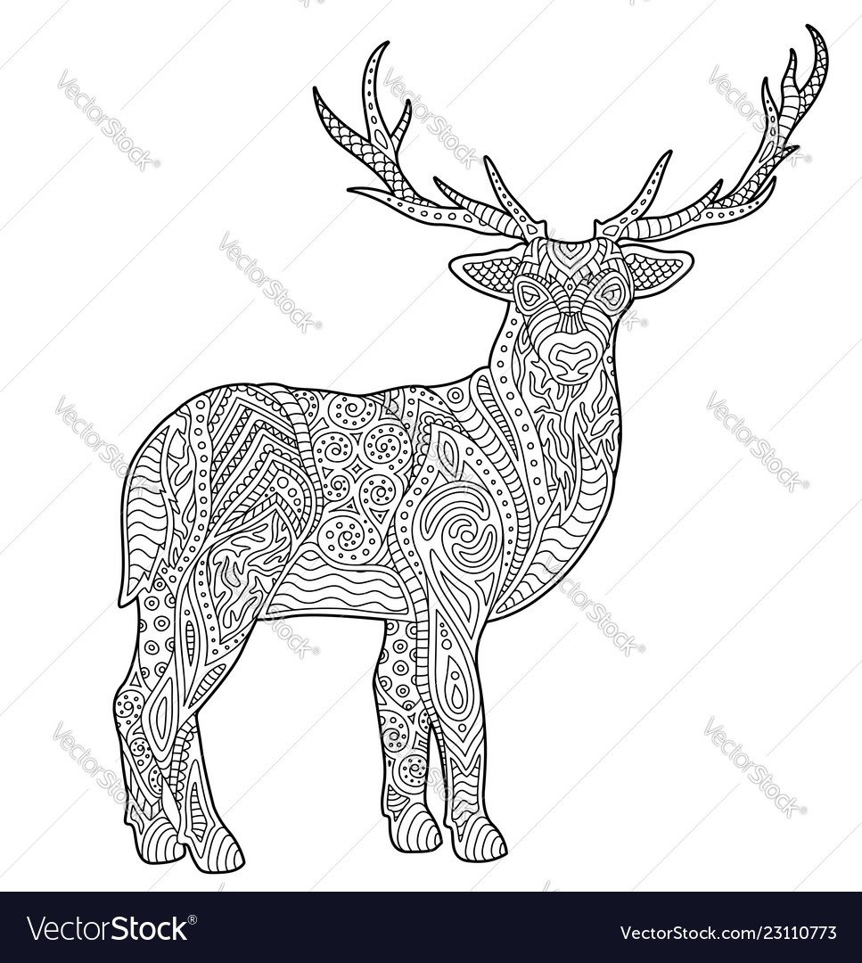 adult coloring book page with stylized deer vector