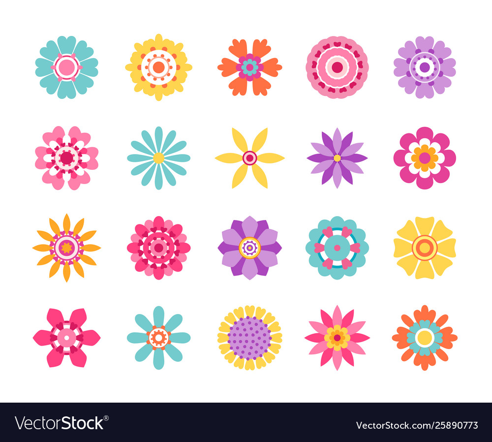 Cartoon flower icons cute summer stickers and
