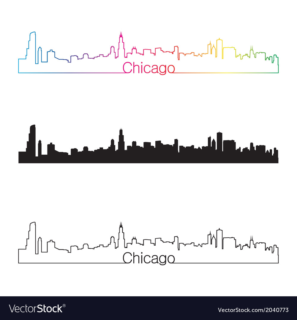 Chicago skyline linear style with rainbow
