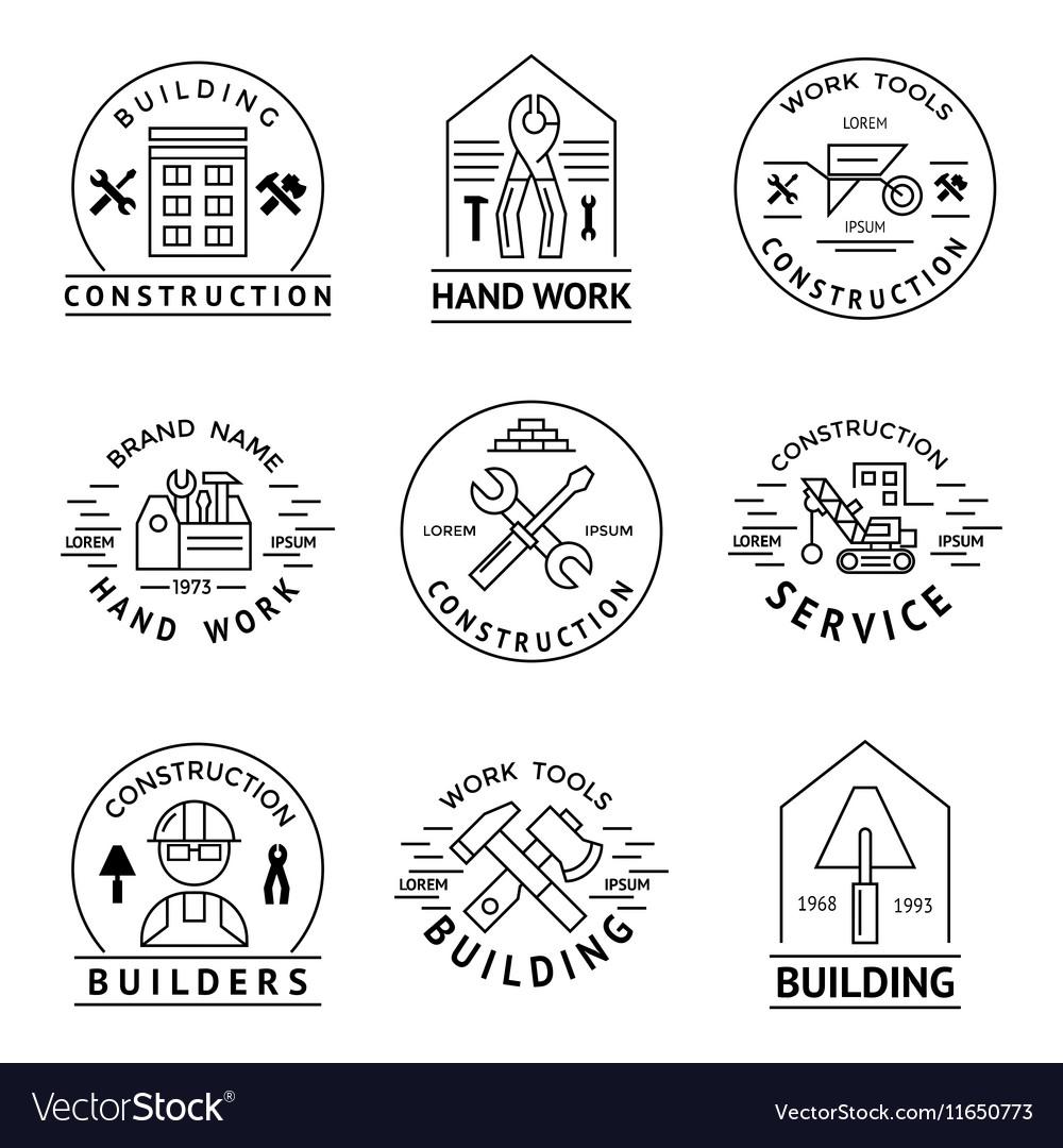 Construction Emblem Set vector image