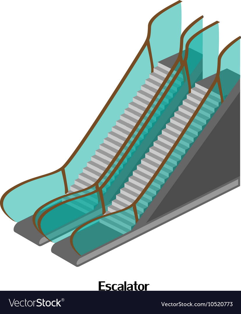 Escalator for lowering and lifting the airport
