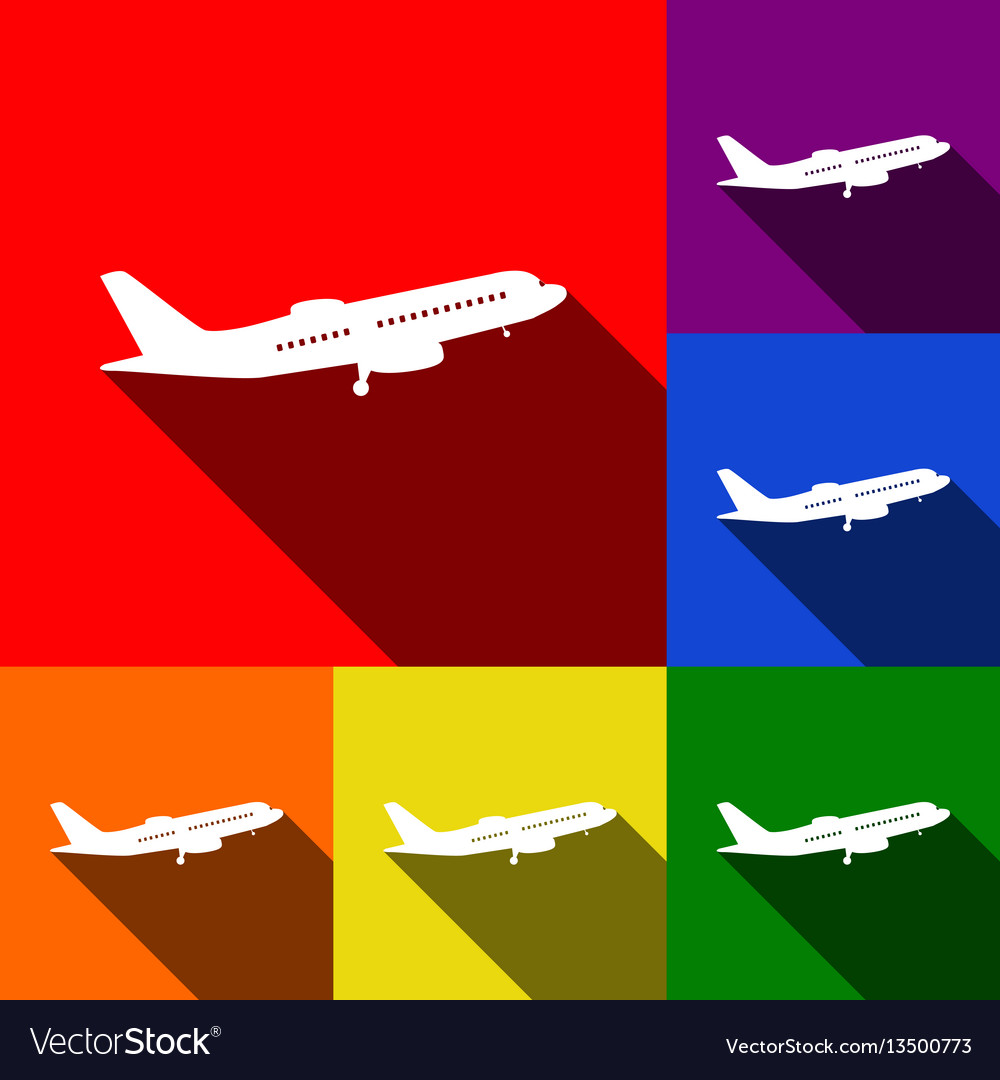 Flying plane sign side view set of icons vector image