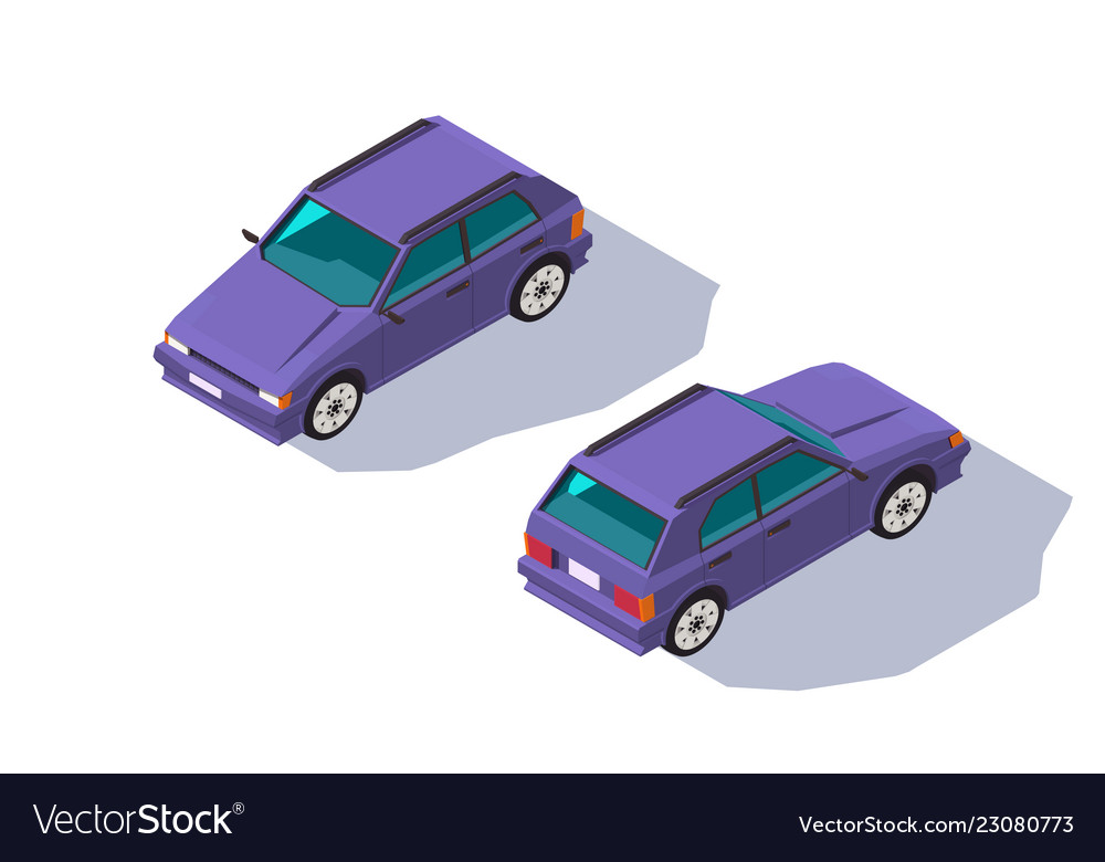 Isometric 3d four-seater red classic hatchback car