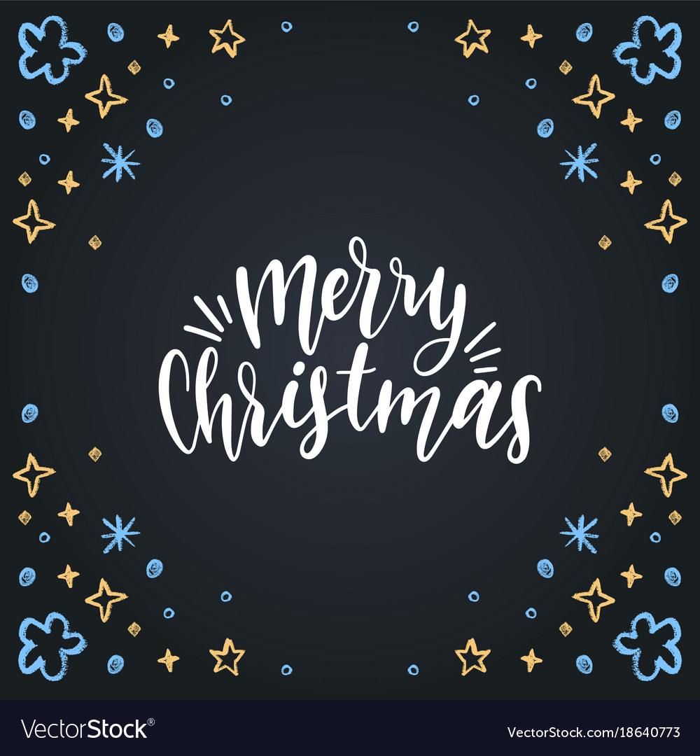 Merry christmas lettering on black background
