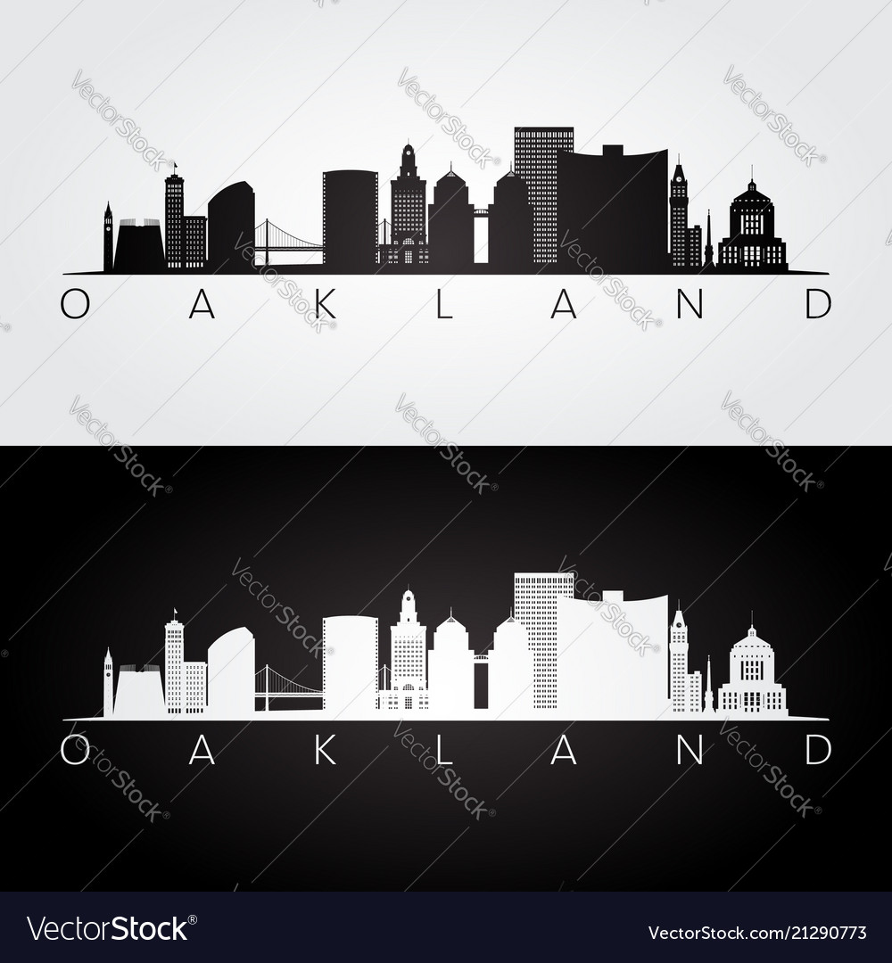 Oakland usa skyline and landmarks silhouette