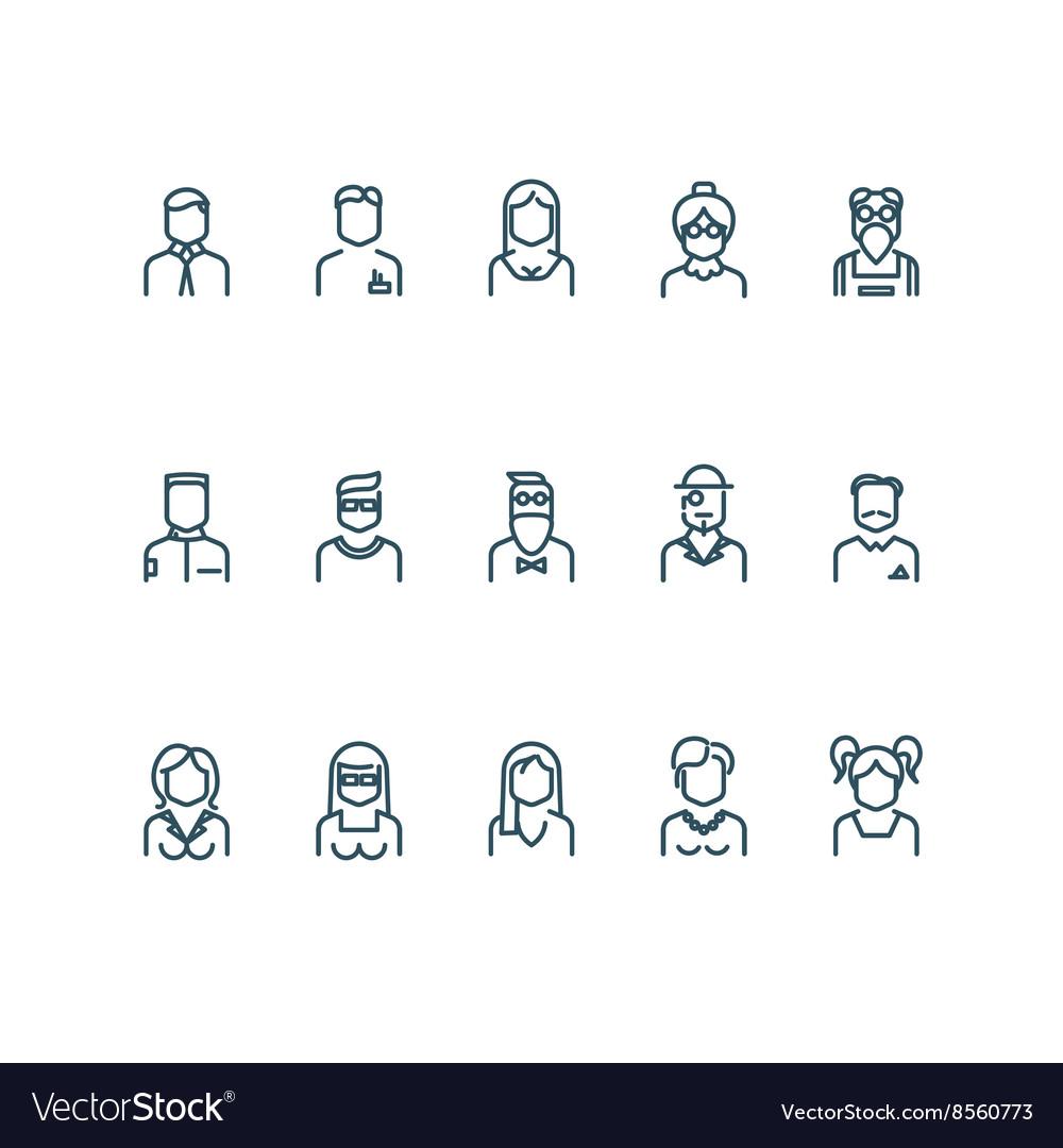 People user profile line icons