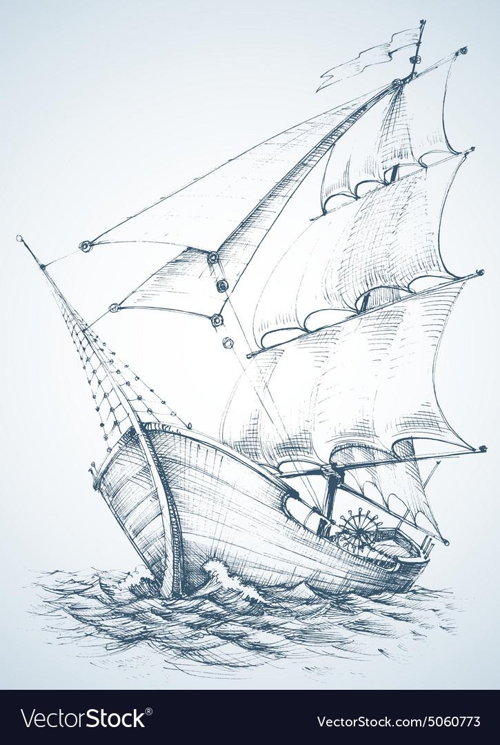 Sailboat wallpaper vector image