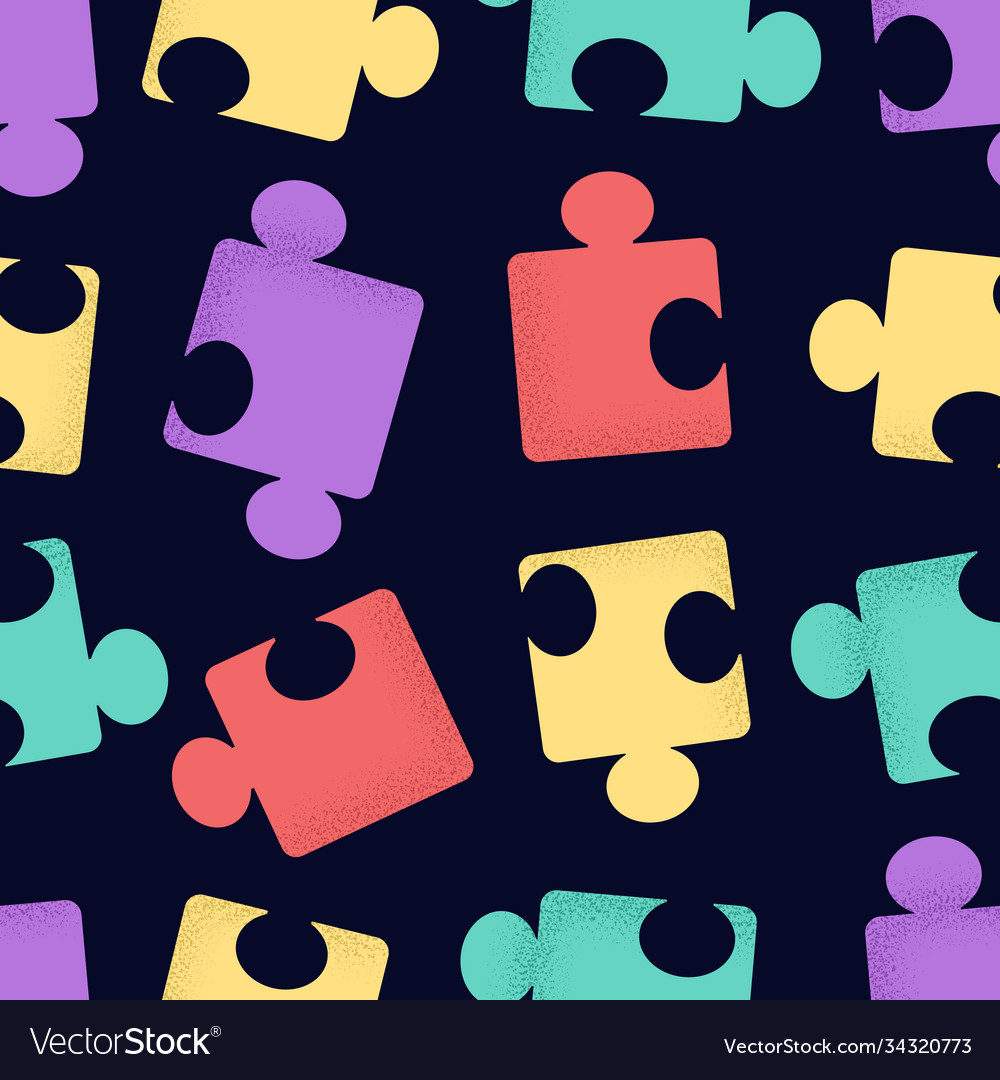 Seamless pattern cartoon puzzle pieces with